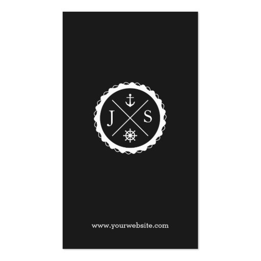 Retro Nautical Anchor Monogrammed Business Card Templates (back side)