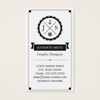 Retro Nautical Anchor Monogrammed Business Card