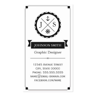 Retro Nautical Anchor Monogrammed Double-Sided Standard Business Cards (Pack Of 100)