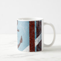 Retro Nautical Anchor Red Blue Grunge Distressed Coffee Mug