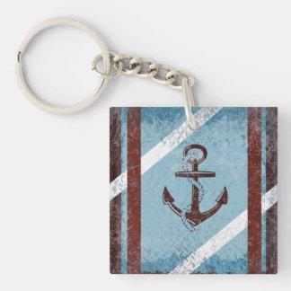 Retro Nautical Anchor Red Blue Grunge Distressed Keychain