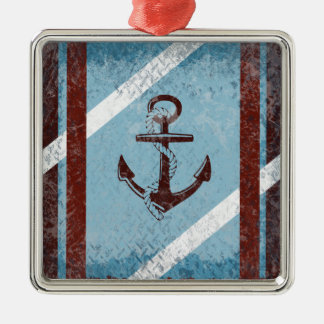 Retro Nautical Anchor Red Blue Grunge Distressed Metal Ornament