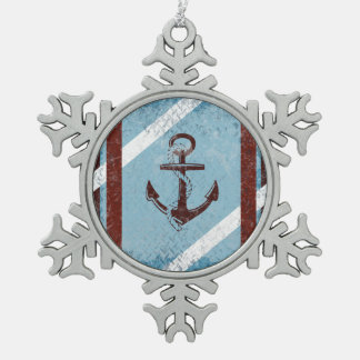 Retro Nautical Anchor Red Blue Grunge Distressed Snowflake Pewter Christmas Ornament