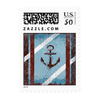 Retro Nautical Anchor Red Blue Grunge Distressed Postage