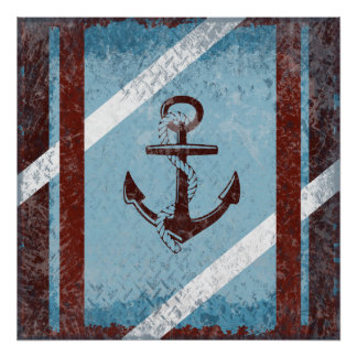 Retro Nautical Anchor Red Blue Grunge Distressed Poster