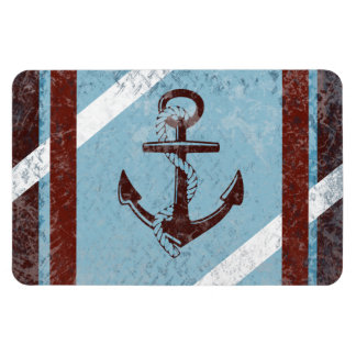 Retro Nautical Anchor Red Blue Grunge Distressed Magnets