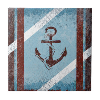 Retro Nautical Anchor Red Blue Grunge Distressed Small Square Tile