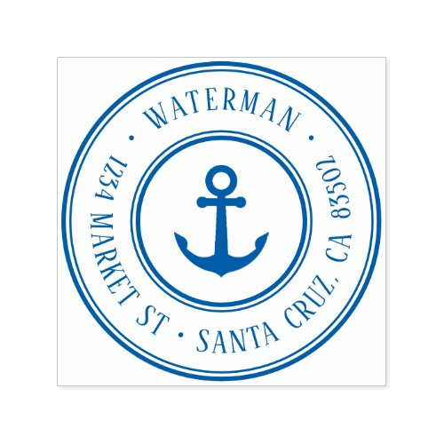 Retro Nautical Anchor Round Return Address Self_inking Stamp