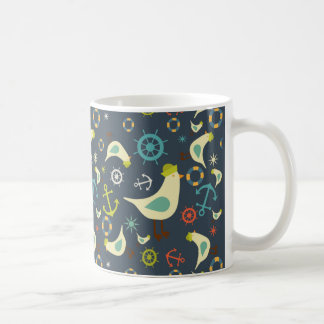 Retro Nautical Colors, with seagull pattern mug