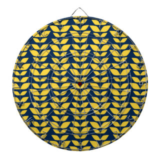 Retro Navy Blue and Yellow Leaf Pattern Dartboard With Darts