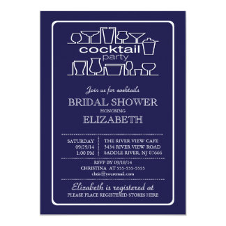 Retro Navy Blue Cocktail Party Bridal shower Card