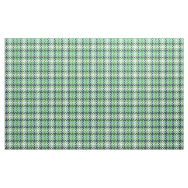 Retro navy blue green houndstooth plaid pattern fabric ...