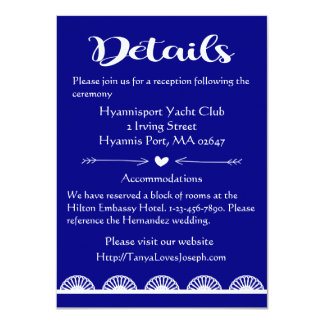 Retro Navy Blue Lace Details / Directions Wedding Card