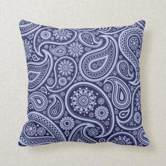 Retro Navy Blue Paisley Pattern Throw Pillows