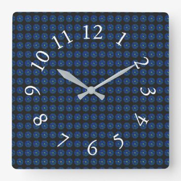Professional Business Retro-Navy-Mod-Floral-Accent-Clocks Square Wall Clock