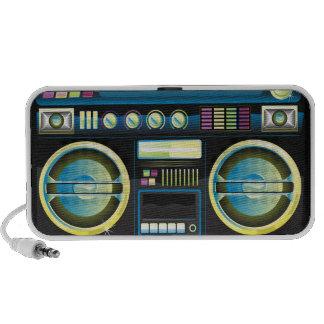 retro neon blue boom box ghetto blaster boombox travel speakers