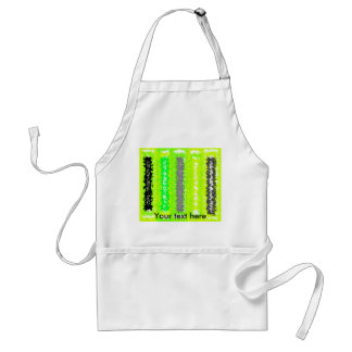 Retro neon green black gray psychedelic rectangles adult apron