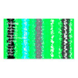 Retro neon green black psychedelic rectangles business cards