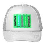 Retro neon green black psychedelic rectangles mesh hats
