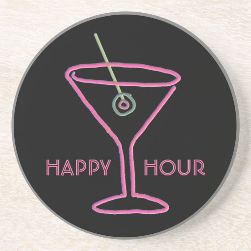 Retro Neon Martini Happy Hour Coaster