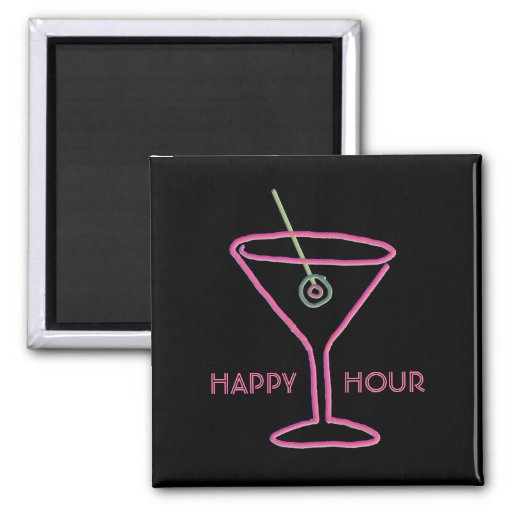 Retro Neon Martini Happy Hour Magnet