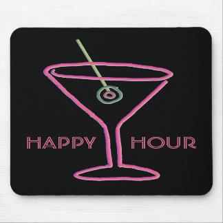 Retro Neon Martini Happy Hour Mousepad