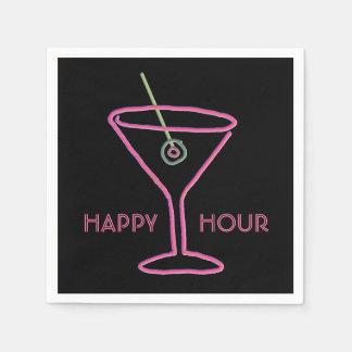 Retro Neon Martini Happy Hour Napkins
