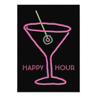 Retro Neon Martini Happy Hour Party Invitation