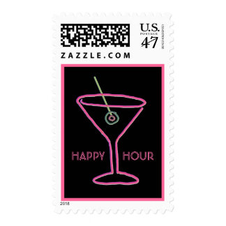 Retro Neon Martini Happy Hour Postage Stamp