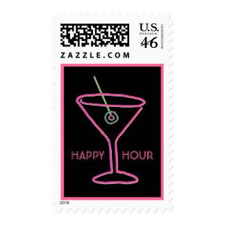 Retro Neon Martini Happy Hour Postage Stamp