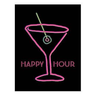Retro Neon Martini Happy Hour Postcard