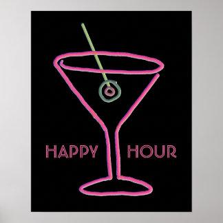 Retro Neon Martini Happy Hour Poster Print