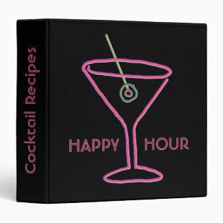 Retro Neon Martini Happy Hour Recipe Binder