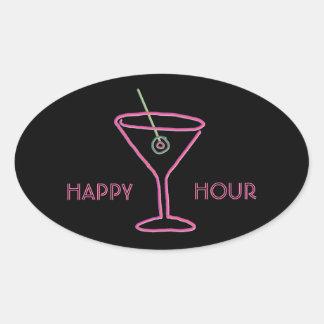 Retro Neon Martini Happy Hour Stickers