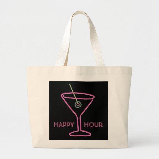 Retro Neon Martini Happy Hour Tote Bag