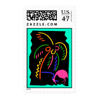 RETRO NEON PALM & FLAMINGO STAMPS SNOWBIRD MAILING