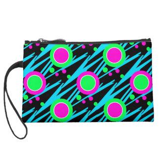 Retro Neon Polka Dot Pattern Suede Wristlet Wallet