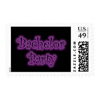 Retro Neon Purple Bachelor Party Postage Stamps