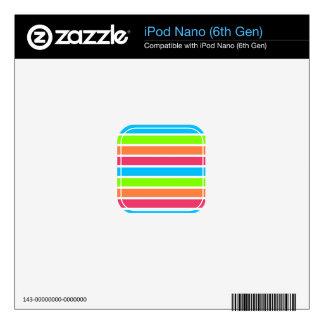 Retro Neon Rainbow Stripes; Striped iPod Nano Skin
