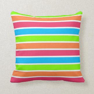 Retro Neon Rainbow Stripes; Striped Throw Pillow