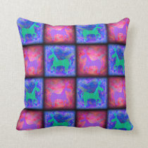 Retro Neon Unicorn Checks Pattern Throw Pillow