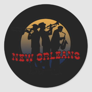 Retro New Orleans Jazz Classic Round Sticker