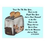 Retro New Year Pun Postcard Vintage Toast Toaster