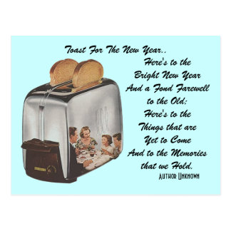Retro New Year Pun Postcard Vintage Toast Toaster