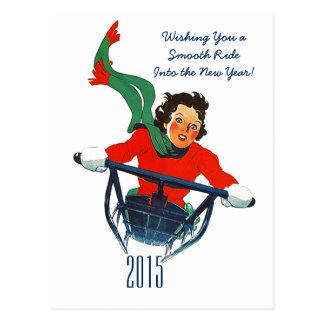 Retro New Year's Greeting Winter Sledding Postcard