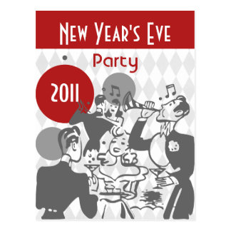 Retro New Year's Party Postcard