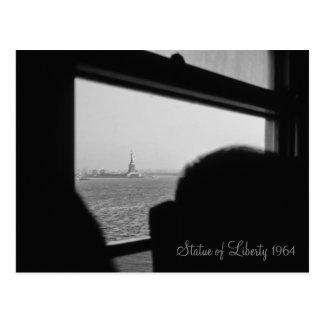 Retro New York Statue of Liberty 1964 Ferry Tour Postcard