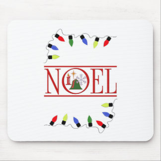 retro NOEL string of lights Mouse Pad