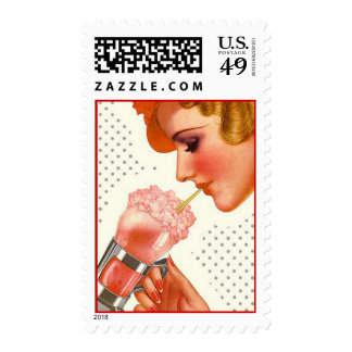 Retro Nostalgic Soda Fountain Drink Gal Stamps