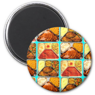 Retro Novelty TV Dinners Trays 2 Inch Round Magnet